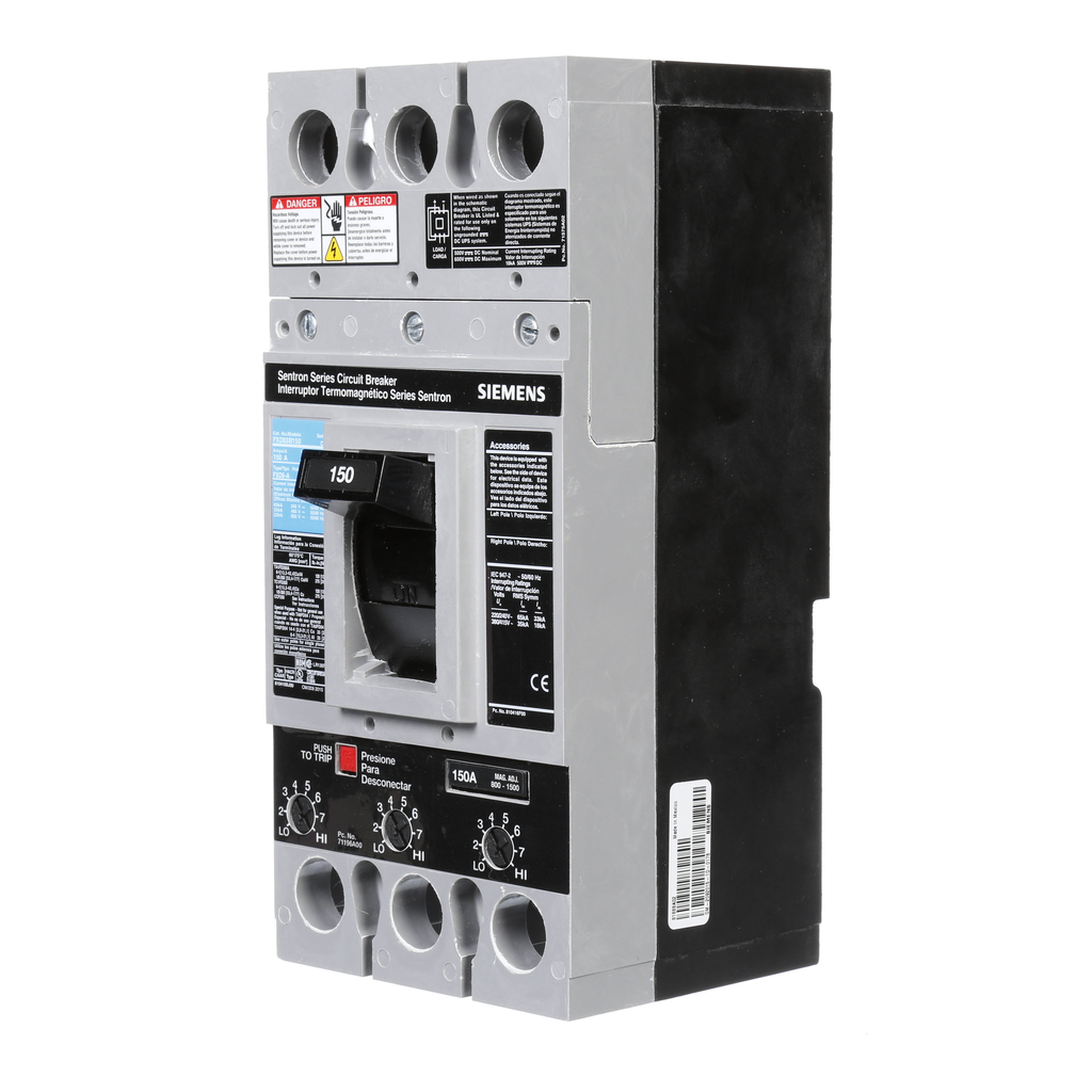 Siemens Industry FXD63B150 3-Pole 600 VAC 150 Amp 22 kA Non-Interchangeable Trip Thermal Magnetic Molded Case Circuit Breaker