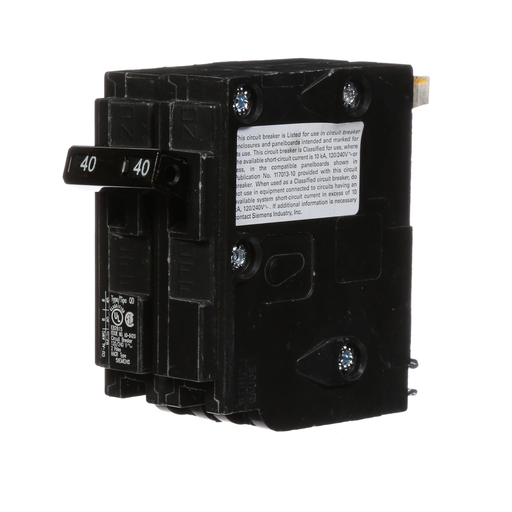 Siemens Low Voltage Residential Circuit Breakers. QD 3/4 IN Plug-In 2-Pole common trip circuit breaker. Rated 120/240V (40A) AIR (10 kA). Special features HACRrated, UL listed and classified.