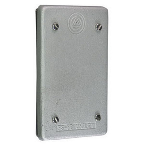 APPLETON 1-Gang Cast Cover, Material: Copperfree (4/10 Of 1 PCT Maximum) Aluminum, Finish: Epoxy Powder Coat, Mounting: Box, For Use With Unilets FS And FD Single Gang And Tandem Cast Hub Ridge Top Boxes