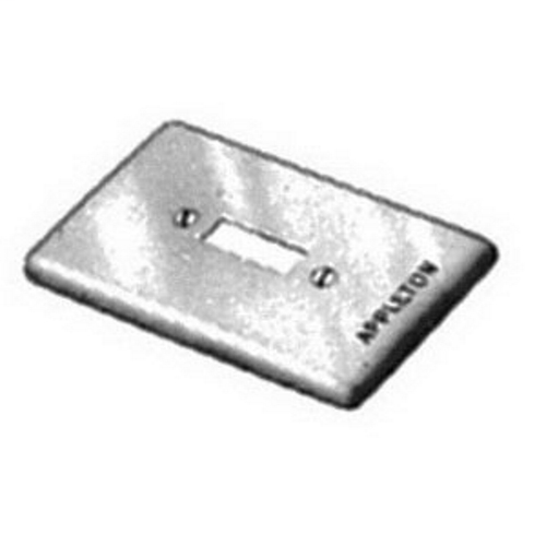 APPLETON 1-Gang Box Cover, Material: Steel, Finish: Zinc Electroplate, Number Of Outlet: (1) Square Handle Tumbler/Toggle Switch, Mounting: Box, For Use With Square Handle Tumbler Or Toggle Switches