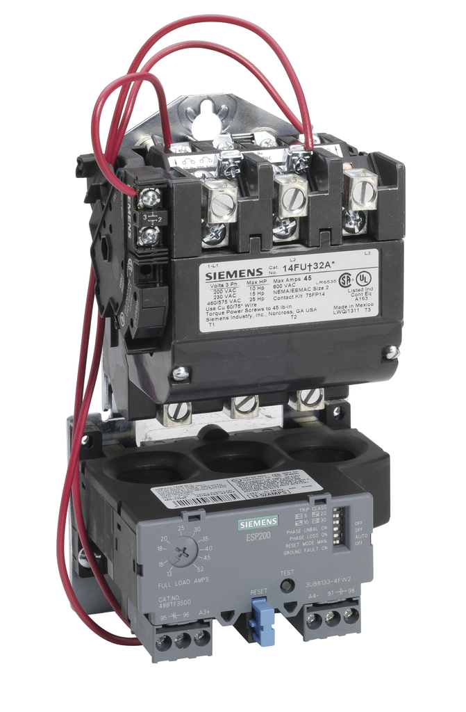 Siemens Industry 14FUF32AA 120/220 to 240 VAC 13 to 52 Amp 25 Hp 3-Phase 3-Pole Size 2 Non-Reversing NEMA Motor Starter