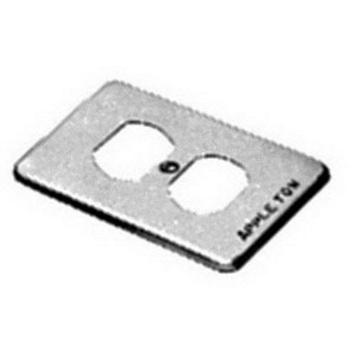 APPLETON 1-Gang Box Cover, Material: Steel, Finish: Zinc Electroplate, Number Of Outlet: (2) Duplex Receptacle, Mounting: Box, For Use With Standard 2 Or 3 Wire Duplex Receptacles