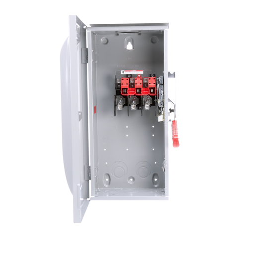Siemens Low Voltage Circuit Protection Heavy Duty Safety Switch. 3-Pole Non-Fused in a type 3R enclosure (outdoor). Rated 600VAC (100A).