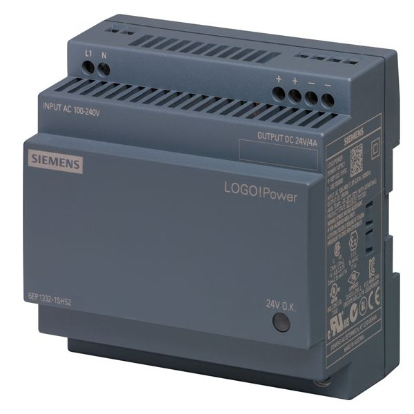 Siemens Industry 6EP13321SH52 100 to 240 VAC Input 24 VDC 4 Amp Output Stabilized Power Supply