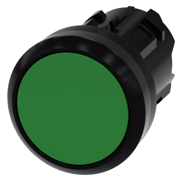 PUSHBUTTON, 22MM, ROUND, PLASTIC, GREEN, FLAT BUTTON, MOMENTARY CONTACT TYPE