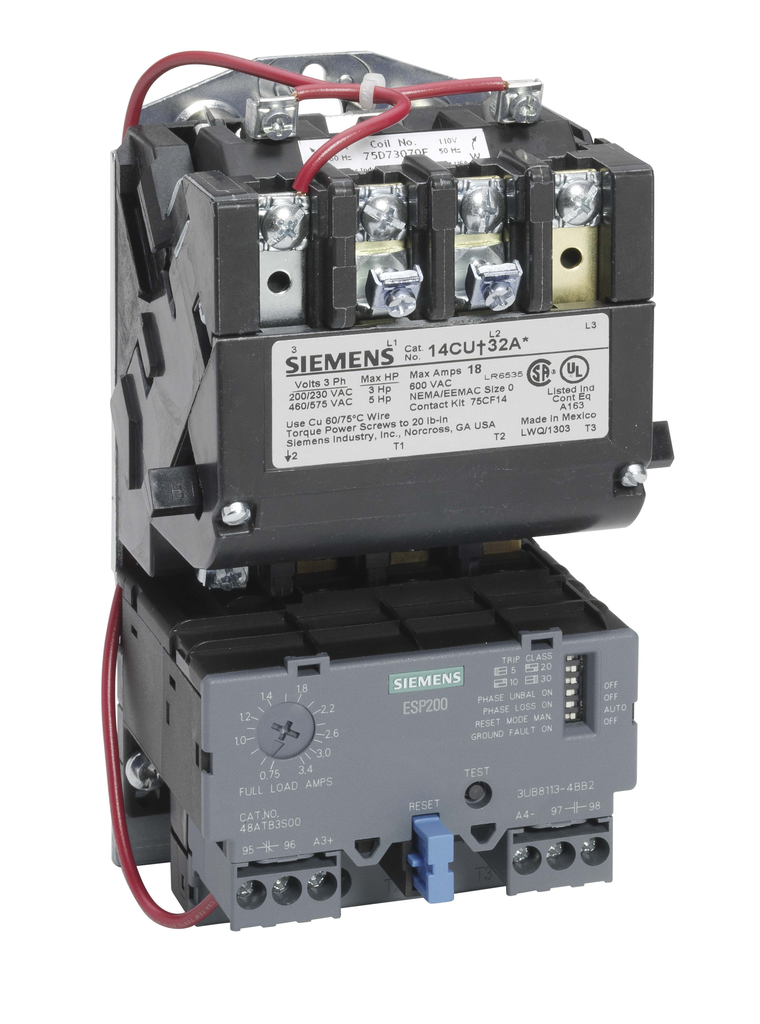 Siemens Industry 14CUC32AF 120 VAC 3 to 12 Amp 5 Hp 3-Phase 3-Pole Size 0 Non-Reversing NEMA Motor Starter