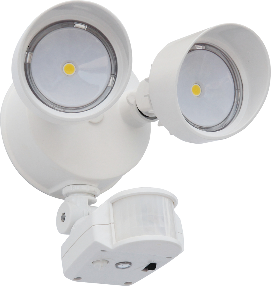 LITH OLF2RH40K120MOWHM6 OUTDOOR TWIN HEAD LED FLOODLIGHT WITH MOTION SENSOR IN WHITE FINISH