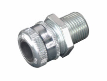 Crouse Hinds CGB193 1/2 Inch Hub Straight Cord Grip Connector (.250- .375 In Cable OD Range) NEMA-3R WT, Male, Steel CGB Fittings, NPT (For Non-Armoured/ Tray Cable)
