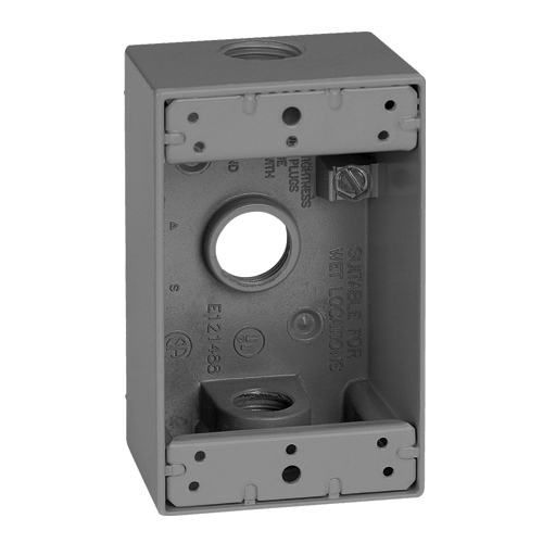 Features:1 Gang, Hub Size 1/2 IN, With Closure Plugs, Ground Screw And Mounting Lugs, Number Of Outlet:3, Material:Die Cast Metal, Size:4.5625 X 2 X 2.8125IN, Color:Grey, Cubic Capacity:18.3CI