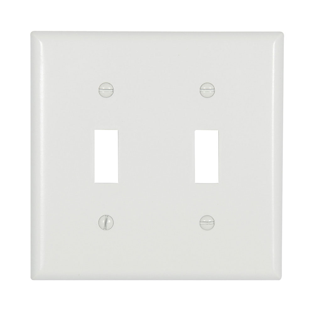 Cooper Wiring Devices,2139W-BOX,WALLPLATE 2G TOGGLE THERMOSET STD WH