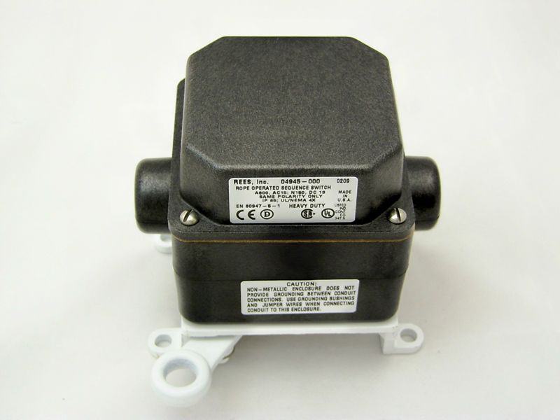 Rees,04945-000,Rope Operated Sequence Switch,Rees,Slack CBL,CNT Configuration: NO + NC,BLK HSG