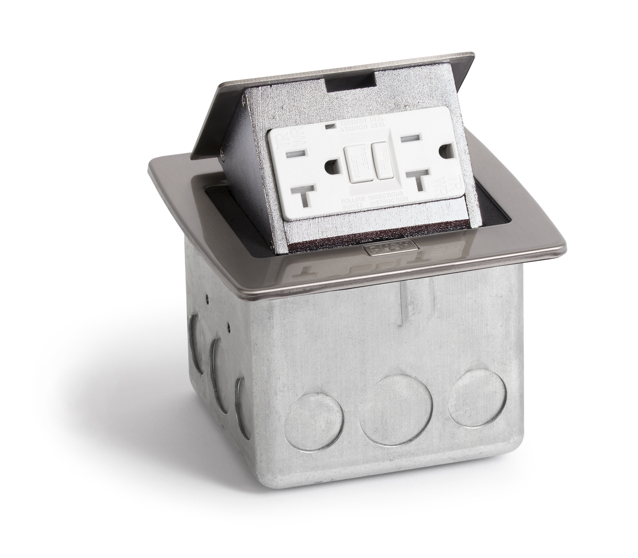 Lew Electric Fittings,PUFP-CT-SS,STN POP UP COUNTERTOP BOX WITH GFI RCPT