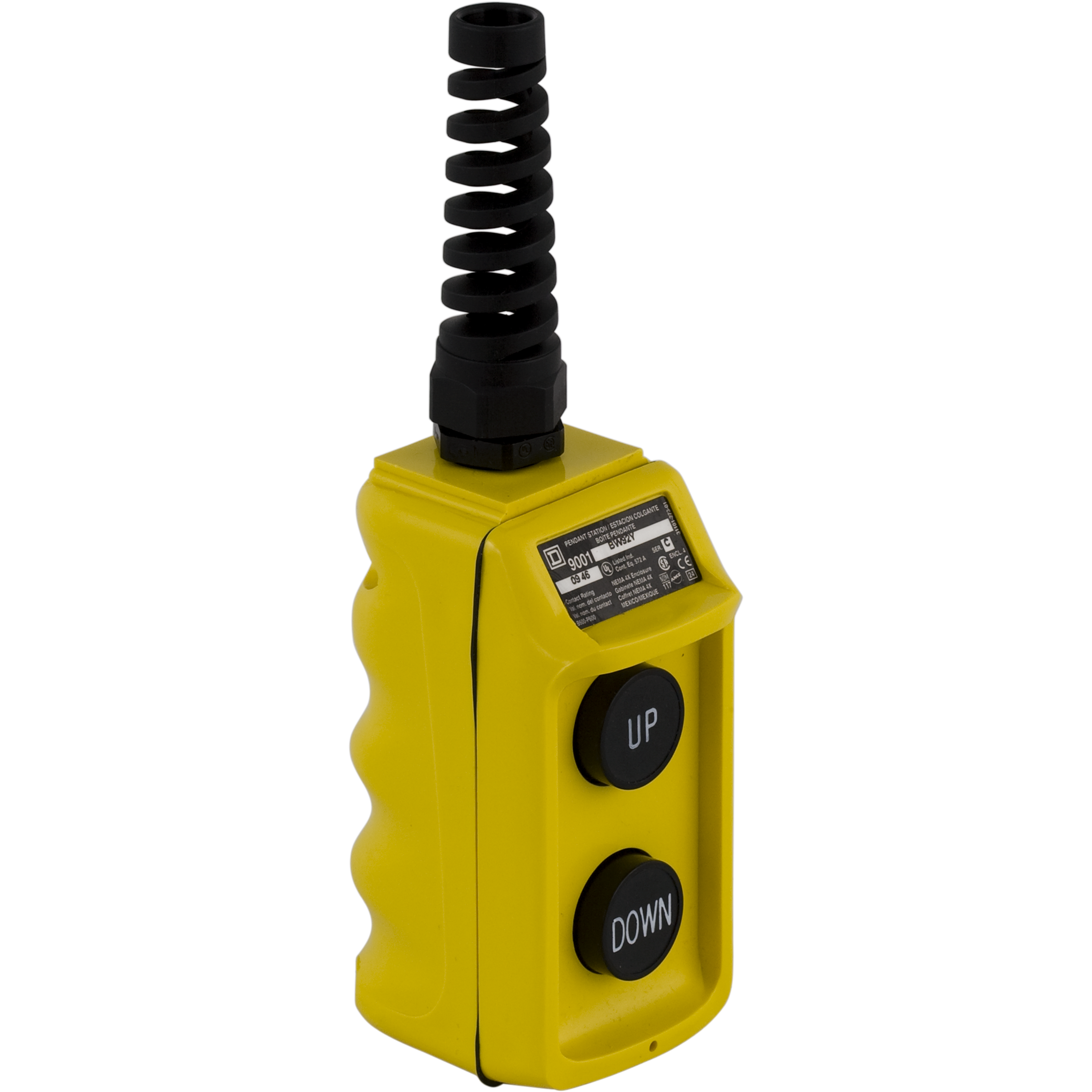 SQD 9001BW92Y UP DOWN PENDANT PUSH BUTT STATION NO Contacts Yellow Enc 600VAC 5A