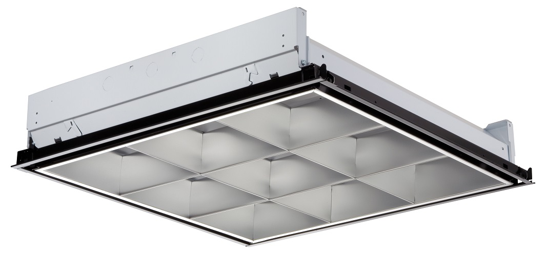 "Parabolic Troffer, 3"" Louver, 2' wide, Lay-in grid, no air function, Two lamps, 32W T8 U (6"" leg), 9 cell, Low-iridescent anodized diff use silver, MVOLT, 120-277V, T8 electronic ballast,"