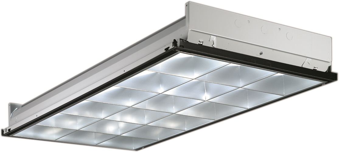 "Parabolic Troffer, 3"" Louver, 2' wide, Lay-in grid, no air function, Three lamps, 32W T8 (48""), 18 cell, Low-iridescent anodized diffuse silver, MVOLT, 120-277V, One 3-lamp ballast, T8 electronic ballast,"