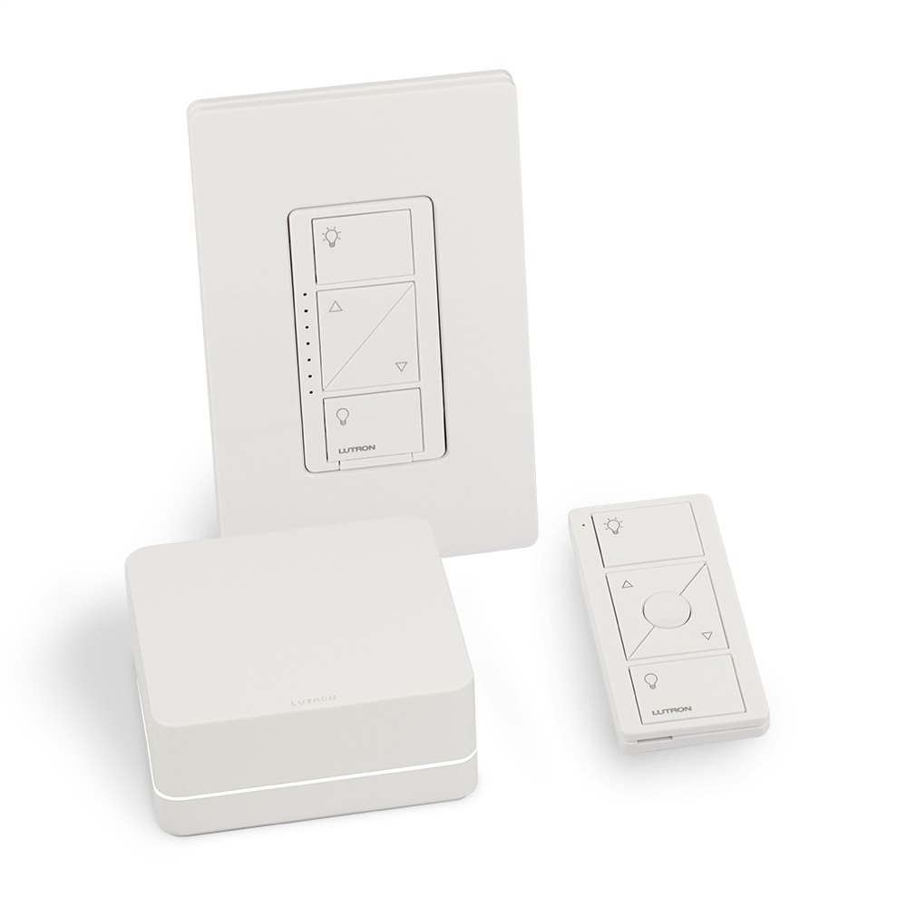 Caseta Wireless starter kit.  Includes all necessary components to setup a single room for dimming. Kit contains 1 In-wall dimmer with faceplate, 1 Smart Bridge, and 1 Pico remote control