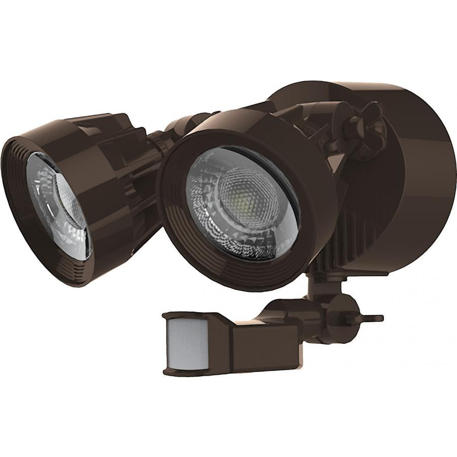 LED Security Light; Dual Head; Motion Sensor Included; Bronze Finish; 4000K; 2000 Lumens