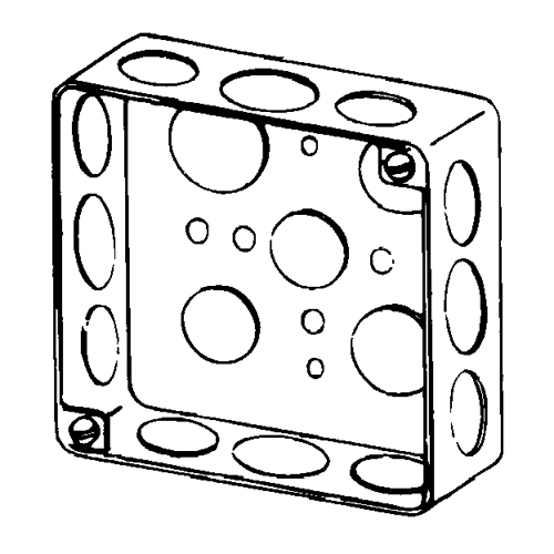 """Boxes, 4"""" Square, 1-1/2"""" Deep, Drawn,Material: Steel,  Volume: 21 Cubic Inch, Sides Knockout: 8@1/2"""", 4@3/4"""", Bottom Knockout: 2@3/4"""" and 2@1/2"""", UL Standard: 514A, UL Listed: E2527, NEMA OS-1"""