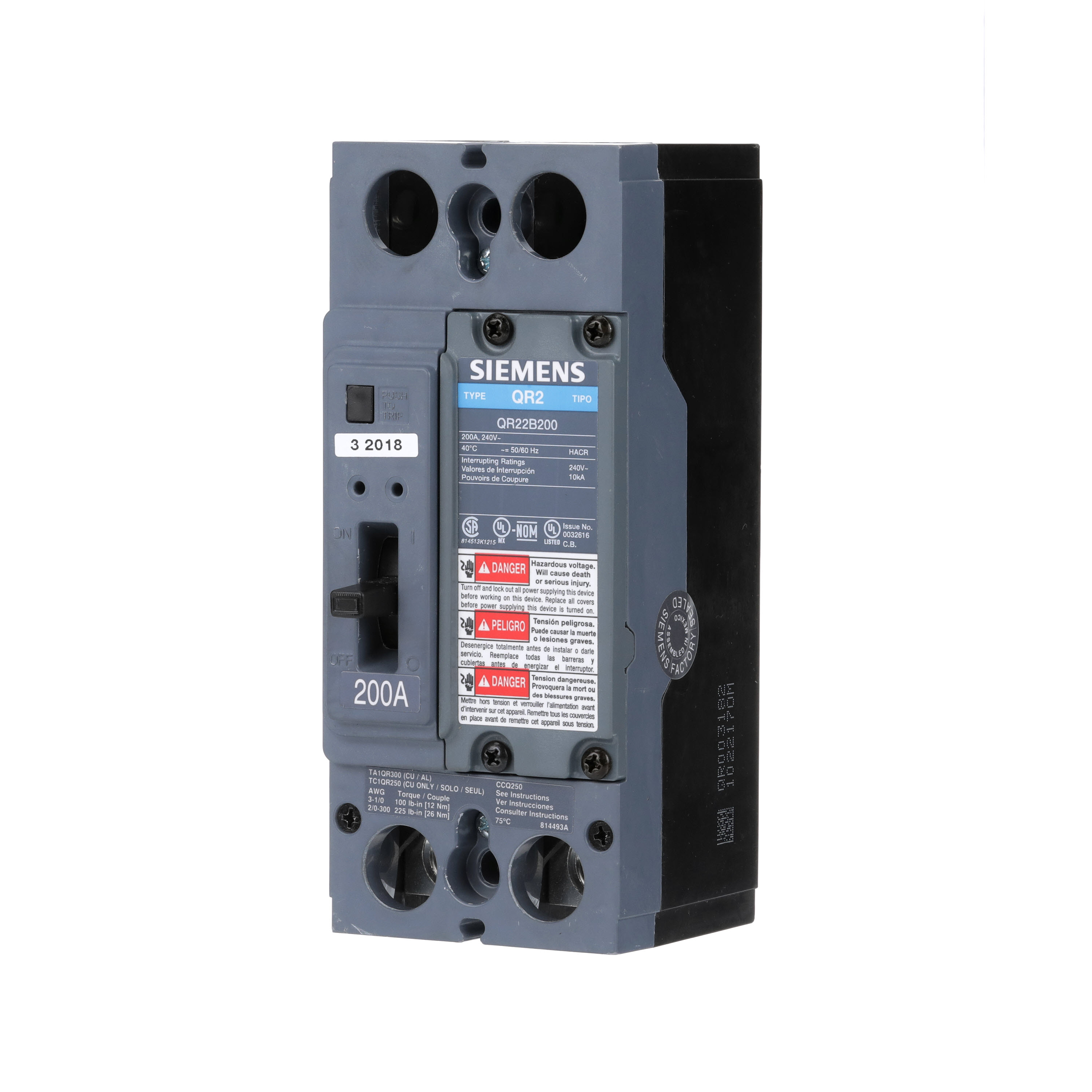 SIEMENS LOW VOLTAGE MOLDED CASE CIRCUIT BREAKER WITH THERMAL - MAGNETIC TRIP. QR FRAME STANDARD 40C BREAKER. 200A 2-POLE (10KA AT 240V). SPECIAL FEATURES NO LUGS INSTALLED.