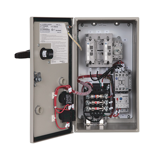 Combination Starter,Fusible Disconnect,IP42/NEMA 1 Mtl, 9 A,E1 Class 10 Manual Reset,230-240V60Hz/220V50Hz/240V60Hz,120V AC 60 Hz,Transformer Control,3 Phase,1.0-5.0 Amps,START-STOP Push Button,Control Circuit Transformer,Blank