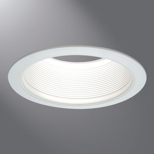 "6"" White Tapered Metal Baffle, 2-White Rings Narrow & Wide"