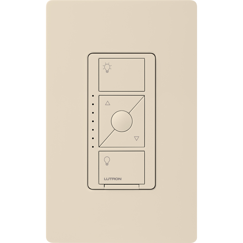Caseta Wireless 3-way/single-pole RF dimmer for LED, ELV, MLV, or Halogen lights in light almond