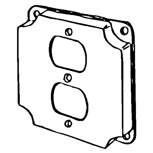 Features:Configuration One Duplex Flush Receptacle, Standard:UL E18095, Material:Steel, Shape:Square, Size:4 X 4 X 0.5IN, Cubic Capacity:7CI