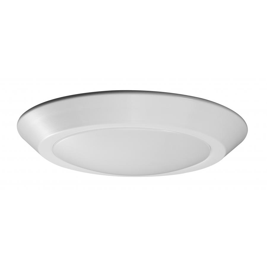 "7"" LED Flush Mount Fixture - Disc Light - White Finish - 3000K"