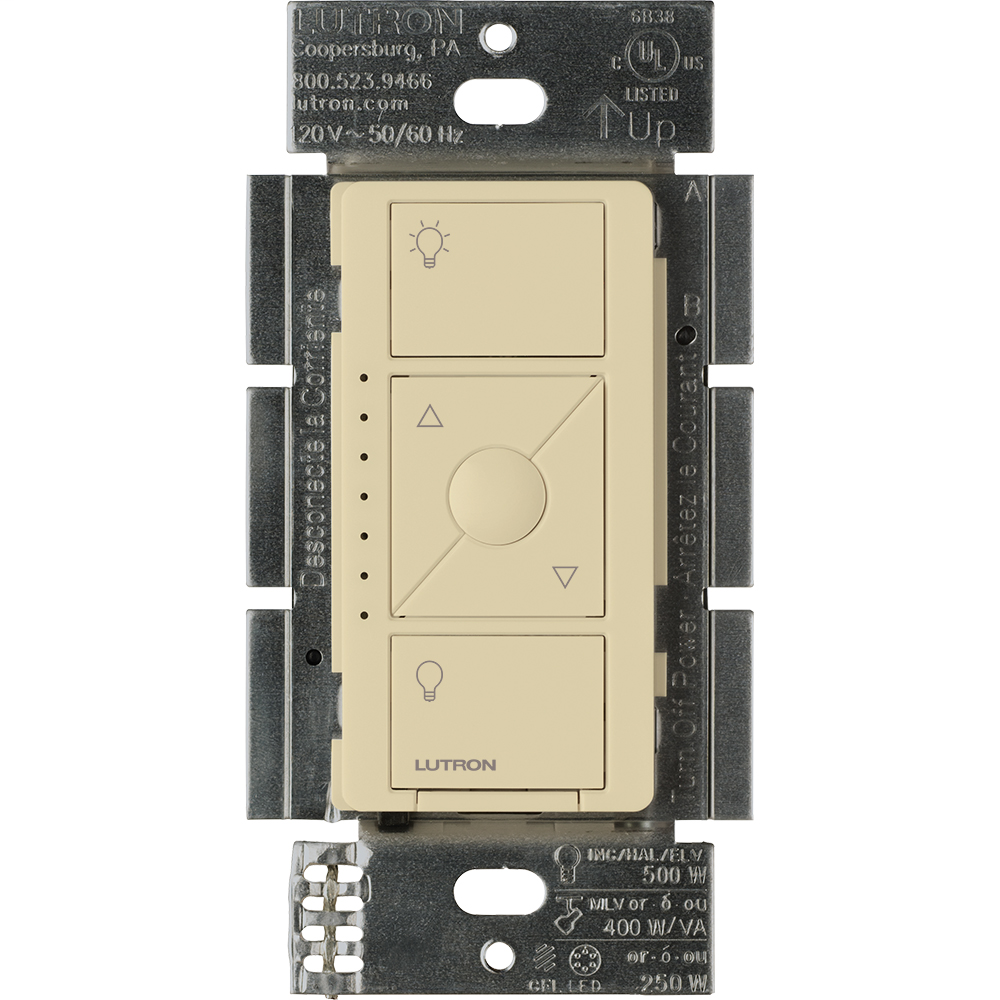 Caseta Wireless 3-way/single-pole RF dimmer for LED, ELV, MLV, or Halogen lights in ivory