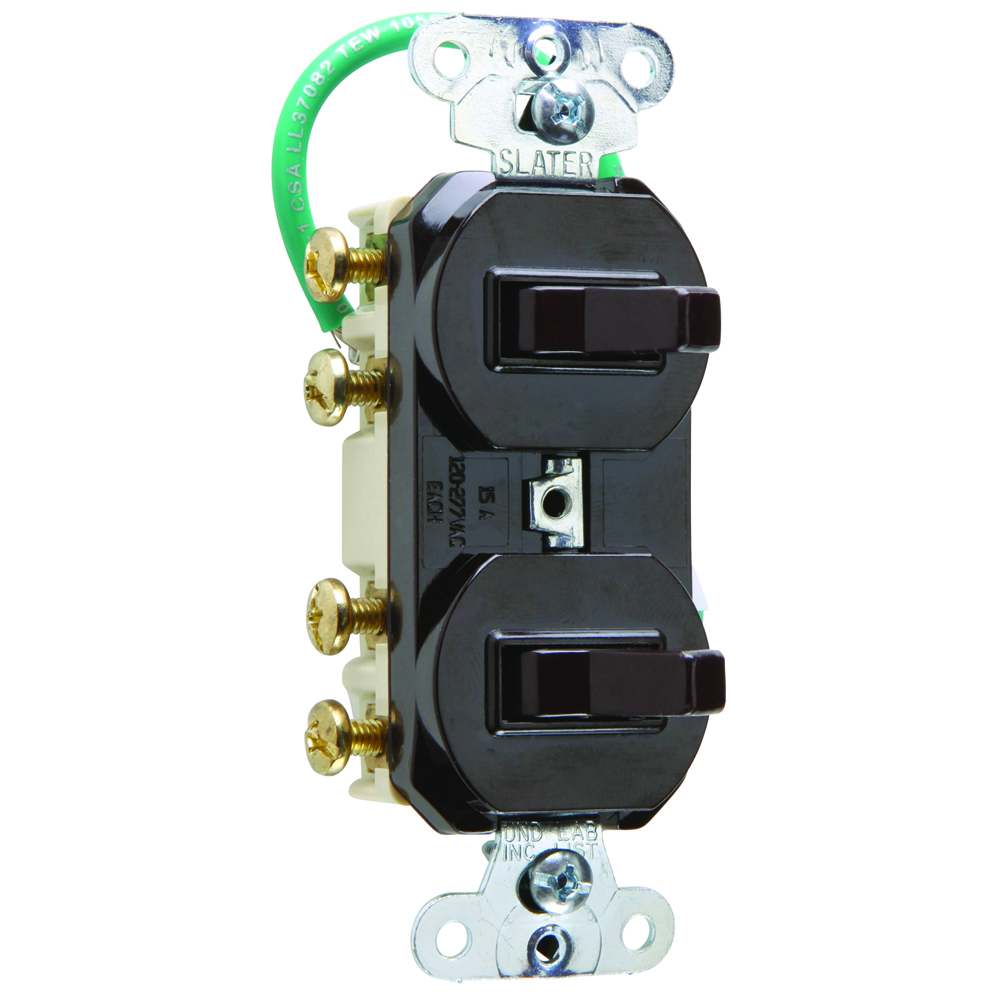 15 amps 120/277 volts, Double Three-way Combination Switch, Grounding, Brown.