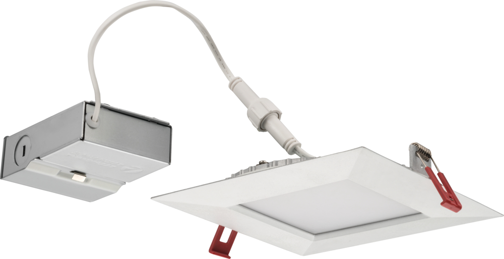 6'' wafer-thin LED downlight, Square, Smooth, LED, 3000 K , Matte white, SKU - 253KFP