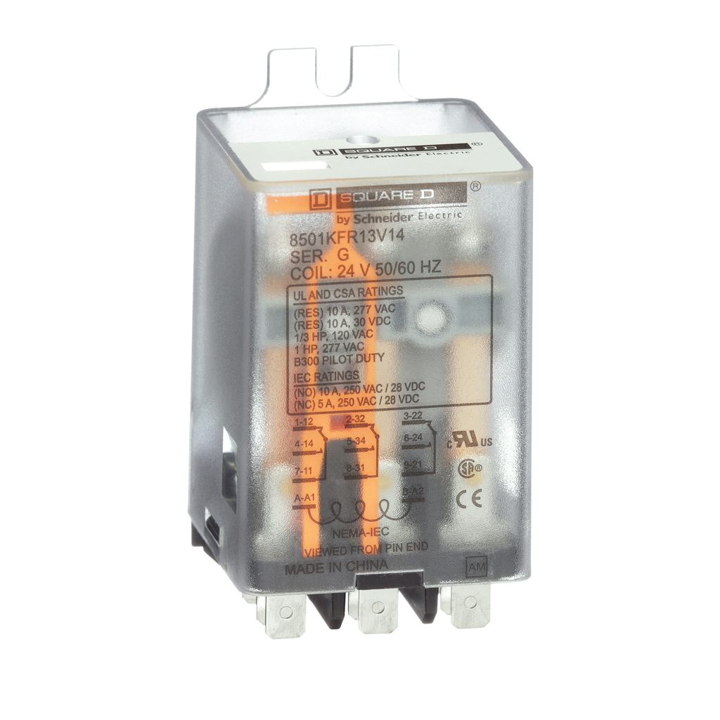 Plug in relay, flange mounted, 3PDT, 10 amp at 277 VAC, 24 VAC coil