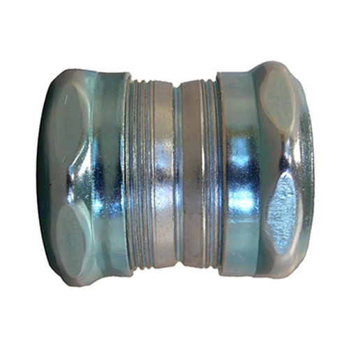 Coupling, Raintight Compression Style for EMT Conduit, Trade Size 0.75 Inches, Steel Body and Nut, Green Nut