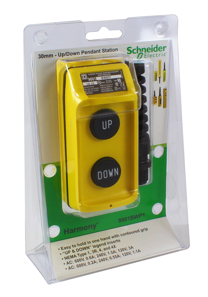 SQD 9001BWP1 UP DOWN PENDANT P.B. STATION N.O. CONTACTS YELLOW 600V AC 5A 9001BW2Y