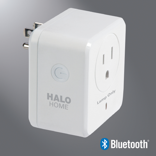 Halo HWP1BLE40AWH Smart Lamp Dimmer With Bluetooth Mesh 4.0 Control, Manual ON/OFF Operation, 110/120 V, CFL/Incandescent/LED Lamp