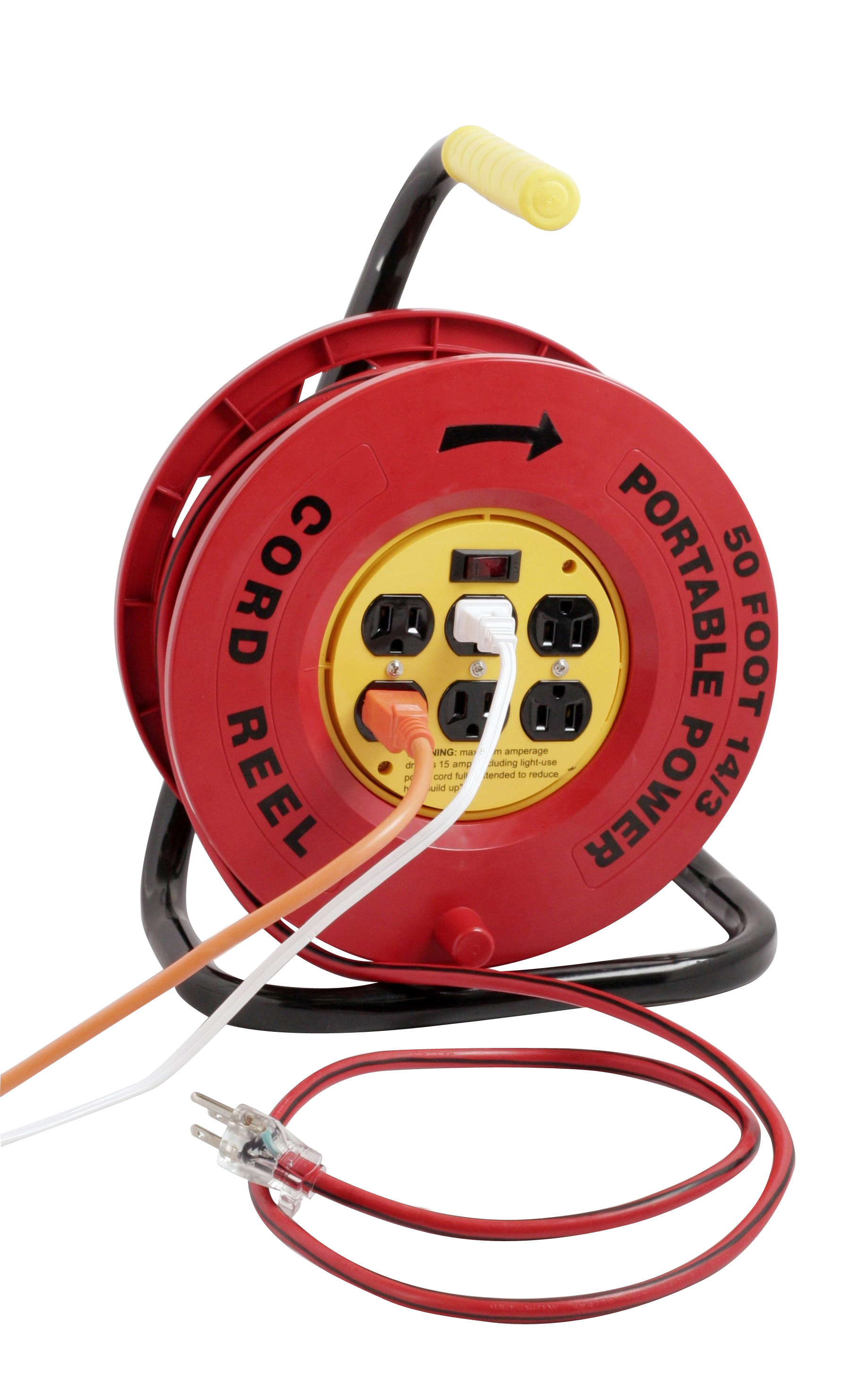 RED CORD REEL WITH 6 OUTLETS & 50' CORD