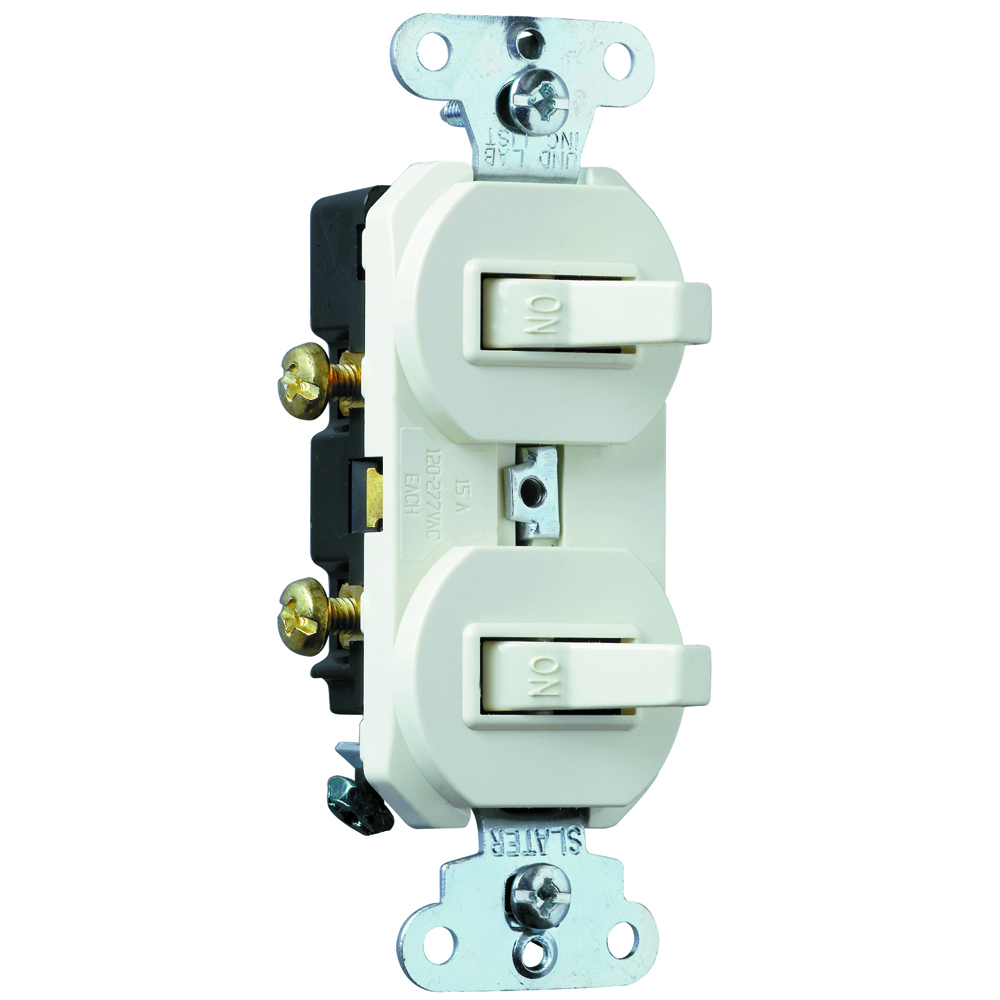 Single Pole, Double Switch, 15 amps, 120/277 volts, White.