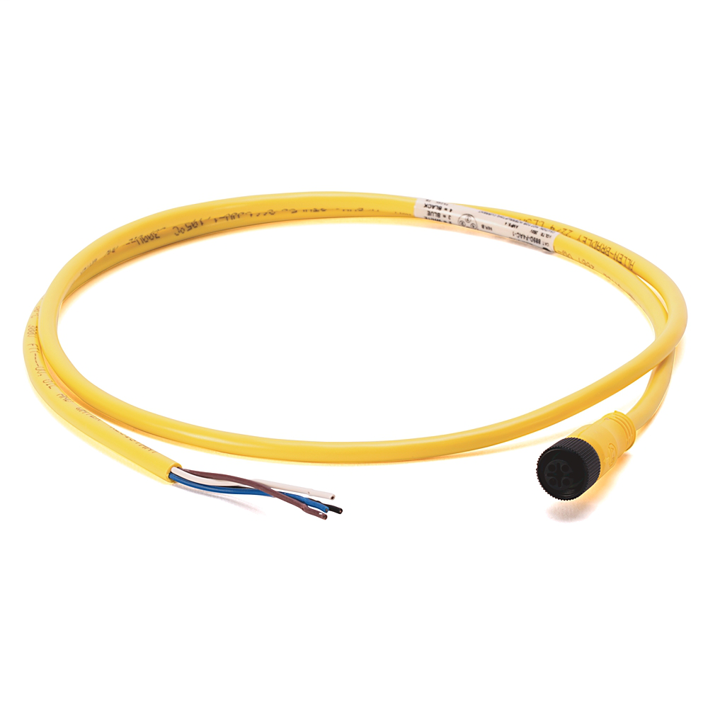 DC Micro (M12), Female, Straight, 4-Pin, PVC Cable, Yellow, Unshielded, IEC Color Coded, No Connector, 10 meter (32.8 feet)