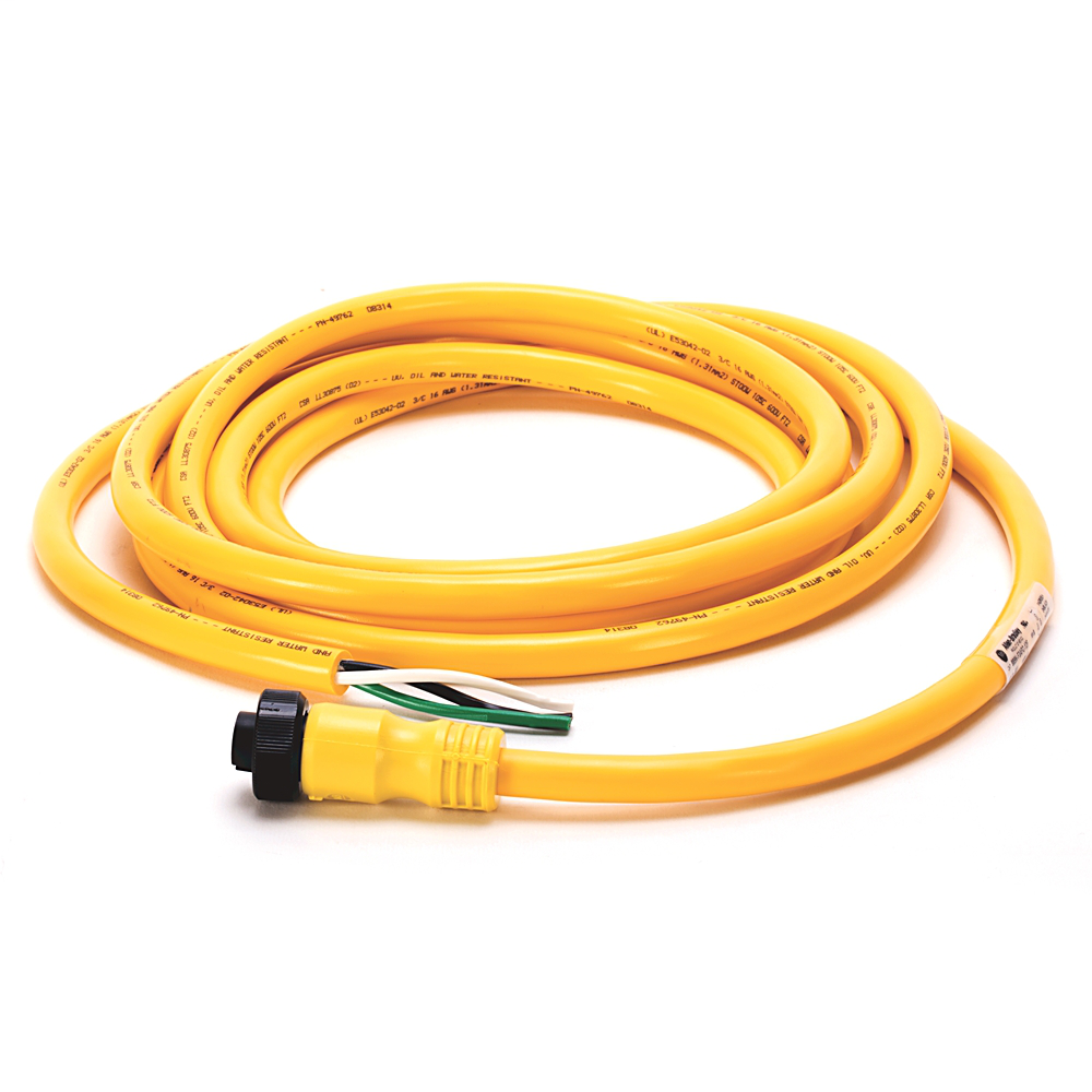 Mini/Mini Plus, Female, R-Ang, 3-Pin, PVC Cable, Yellow, Unshielded, US Color Coded, No Connector, 12 feet (3.66 meters)