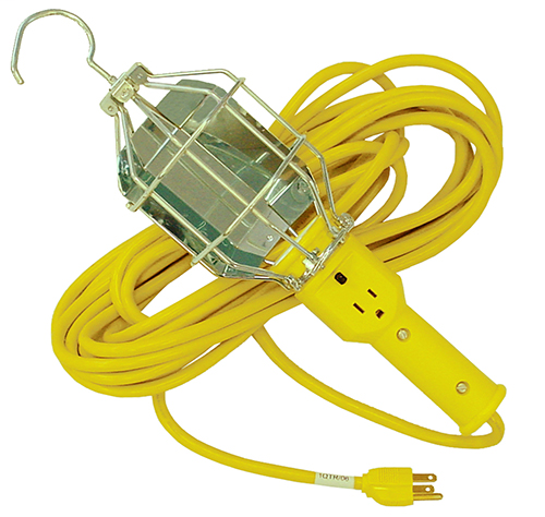 6000 Series Commercial-Duty Extension Lights, accommodates up to 200W Bulb: Voltage Rating: 125V, Amperage Rating: 10A, Handle and cage with switch and reflector, with 50'/15.2 m, 16/3-SJTW Cord