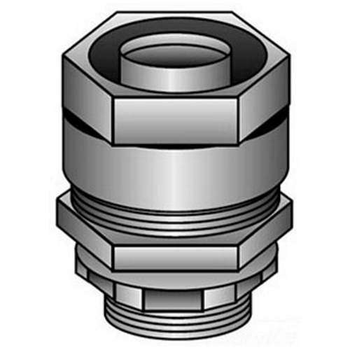 OZ-Gedney Type 4Q Liquid Tight Straight Connector, Size: 1-1/2 IN, Connection: Compression X Tapered MNPT Hub, Malleable Iron Body And Nut, Steel Ferrule, Finish: Zinc Electroplated, NEMA Rating: NEMA 4, 2-3/4 IN Width, 2 IN Height, Third Party Cer