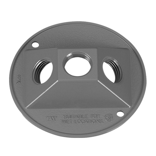 Features:1/2 IN Hub, With Gasket And Mounting Hardware, For 3 Photocells Or Lamp holders, Material:Metal, Finish:Die-Cast, Shape:Round, Size:4.5 X 0.56IN, Number Of Outlet:3,Color:Grey