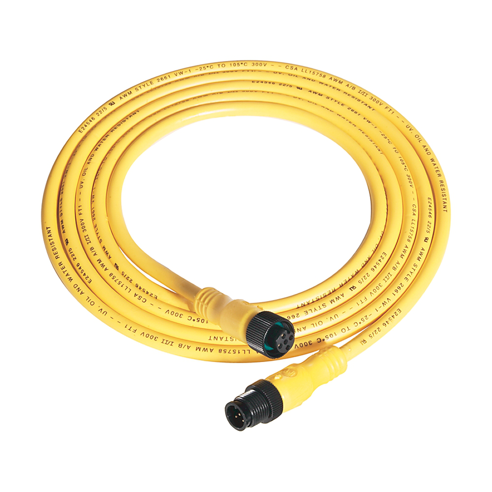 Patchcord: DC Micro (M12), Female, Straight, 5-Pin, PVC Cable, Yellow, Unshielded, IEC Color Coded, DC Mic, Male, Straight, 10 meter (32.8 feet)
