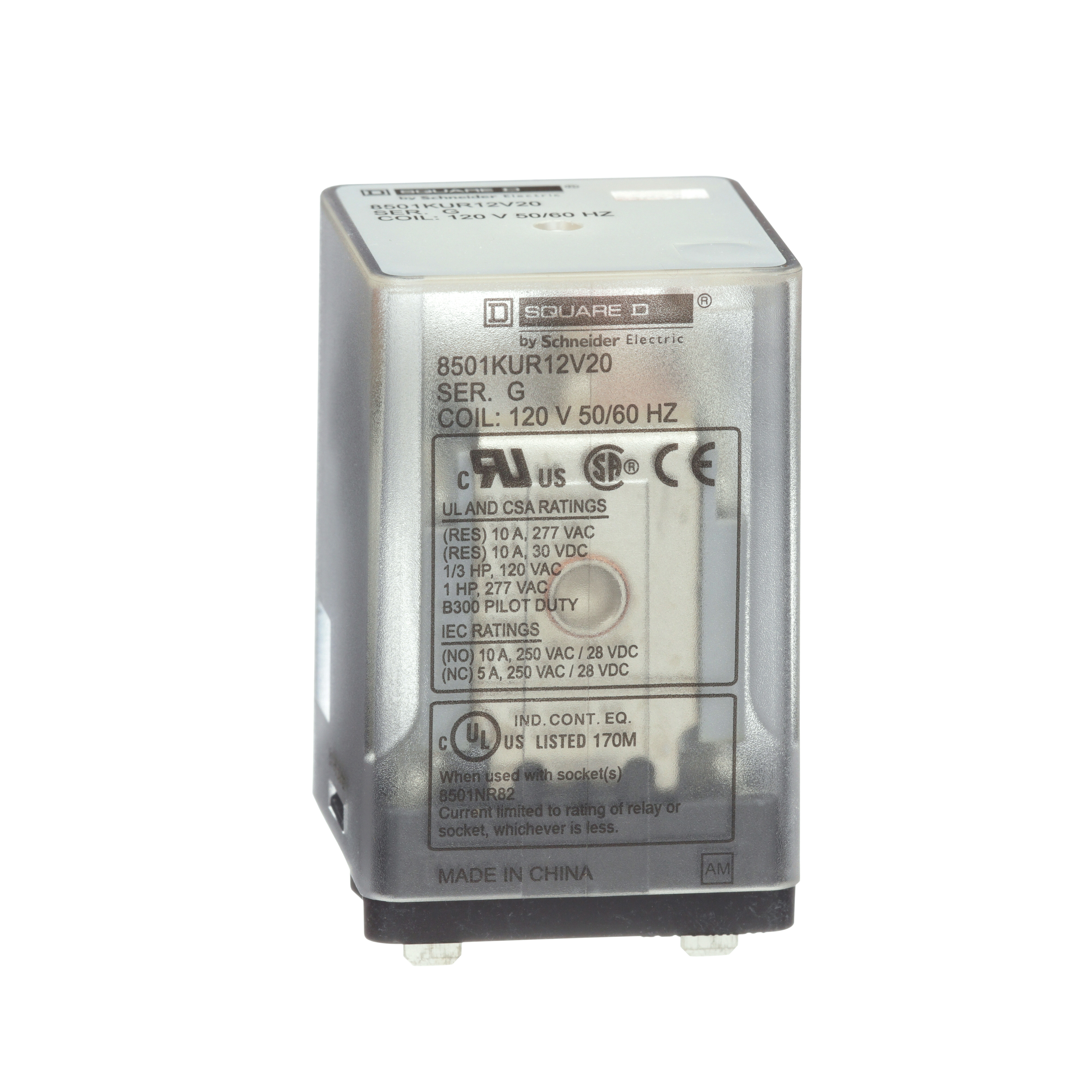 SCHNEIDER ELECTRIC RPM12BD Plug In Relay,5 Pins,Square,24VDC
