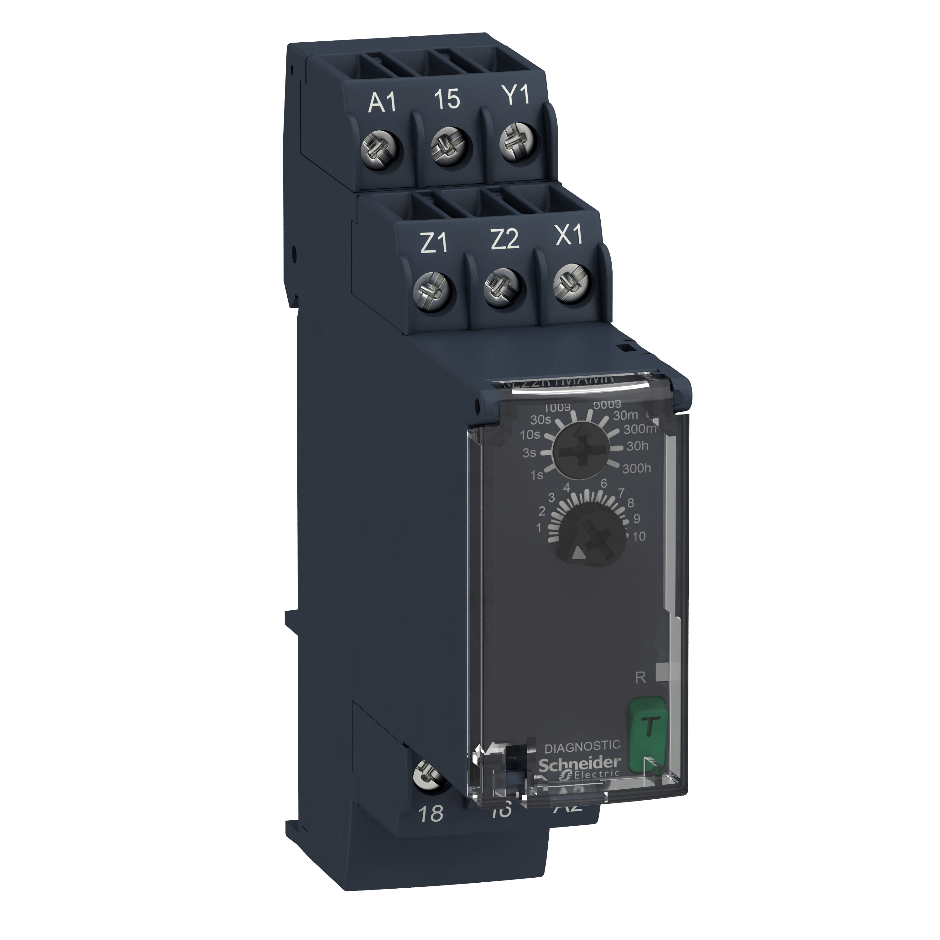 SQUARE D Modular timing relay, 8 A, 1 CO, 0.05 s…300 h, on delay, 24...240 V AC/DC