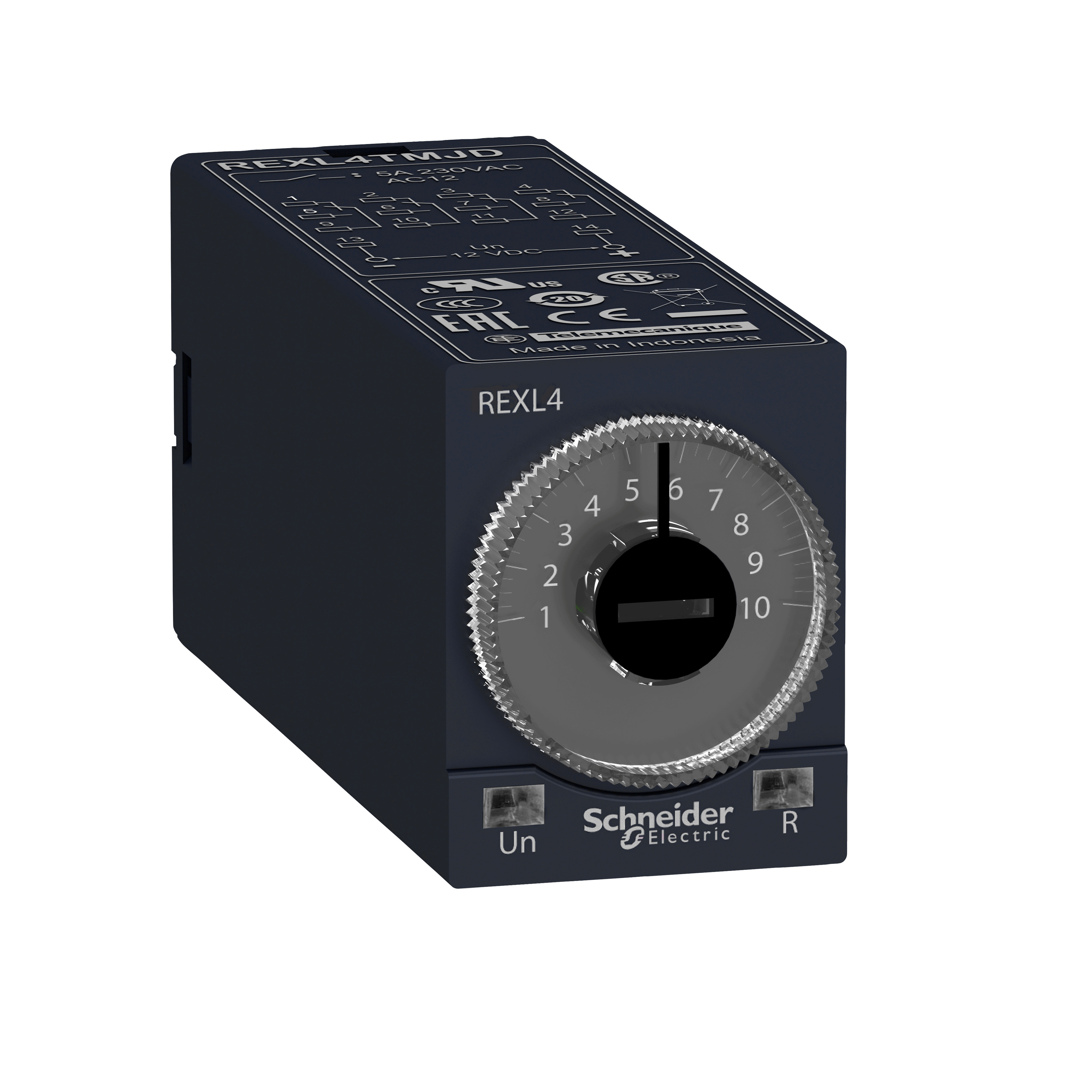 SQUARE D Modular timing relay, 5 A, 4 CO, 0.1 s..100 h, on-Delay, 230 V AC