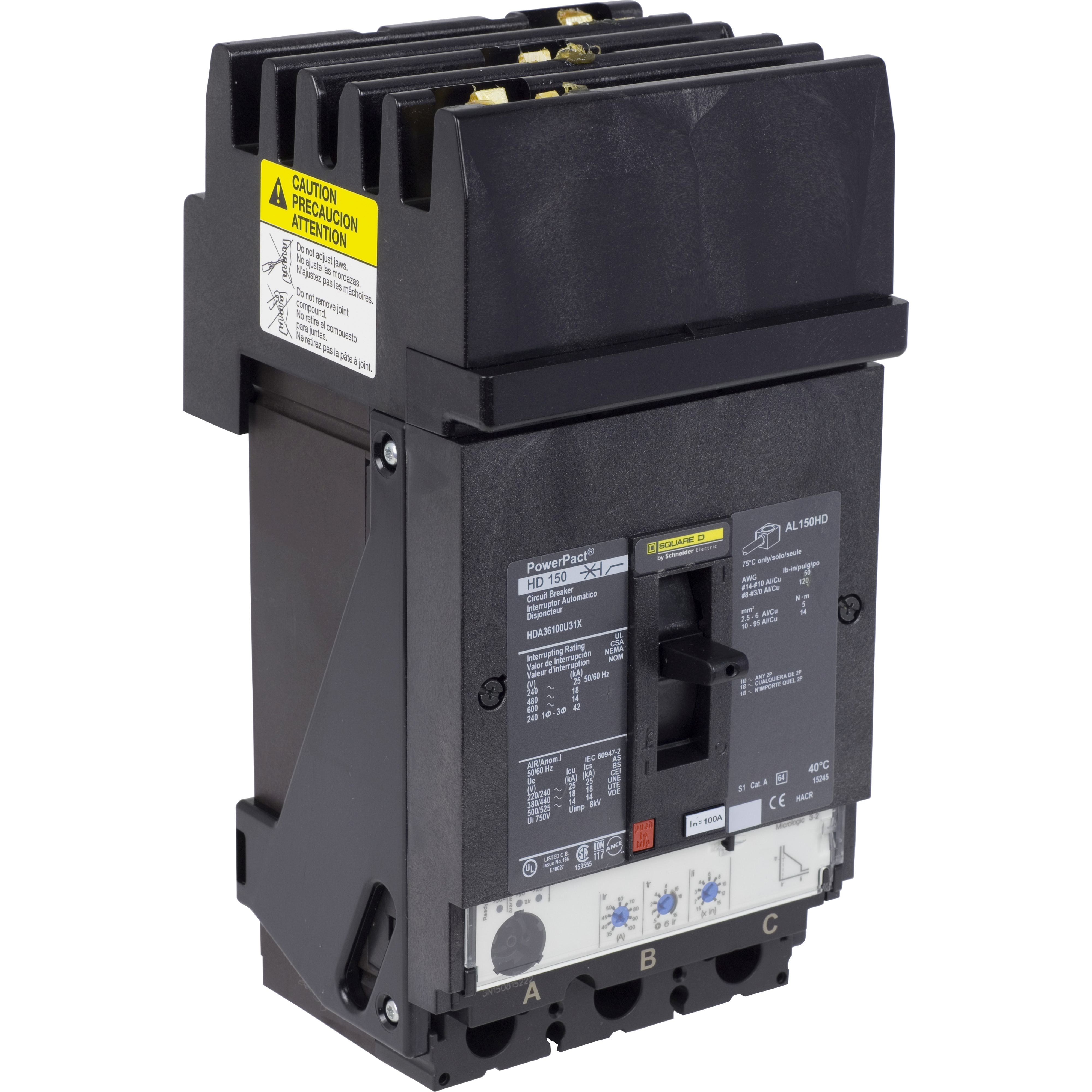 SCHNEIDER ELECTRIC PowerPact H-Frame Molded Case Circuit Breakers I-Line - HDA36100U31X