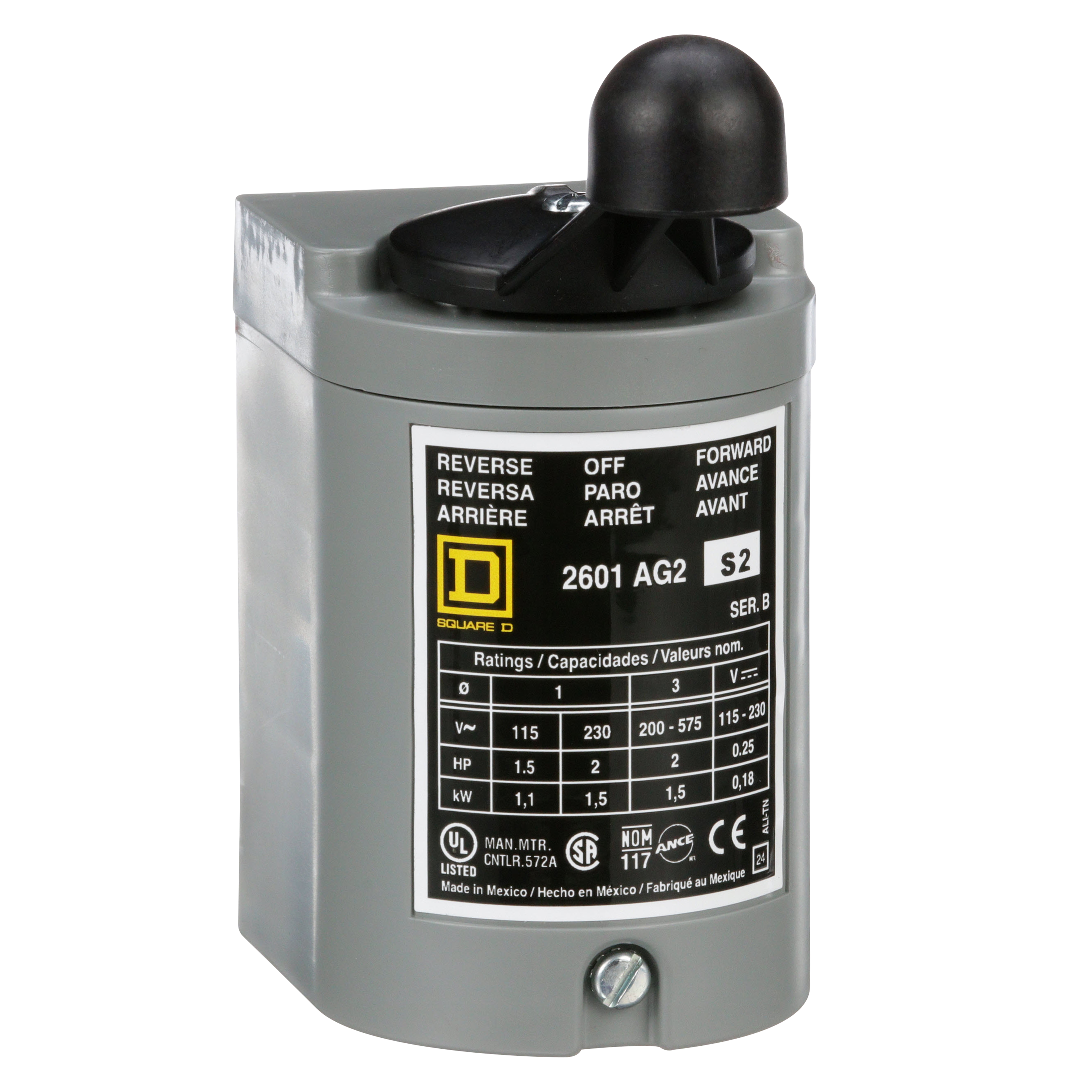SQUARE D Switch, reversing drum, 2 HP at 230 VAC single phase, 2 HP at 575 VAC polyphase, handle operated, NEMA 1 enclosure
