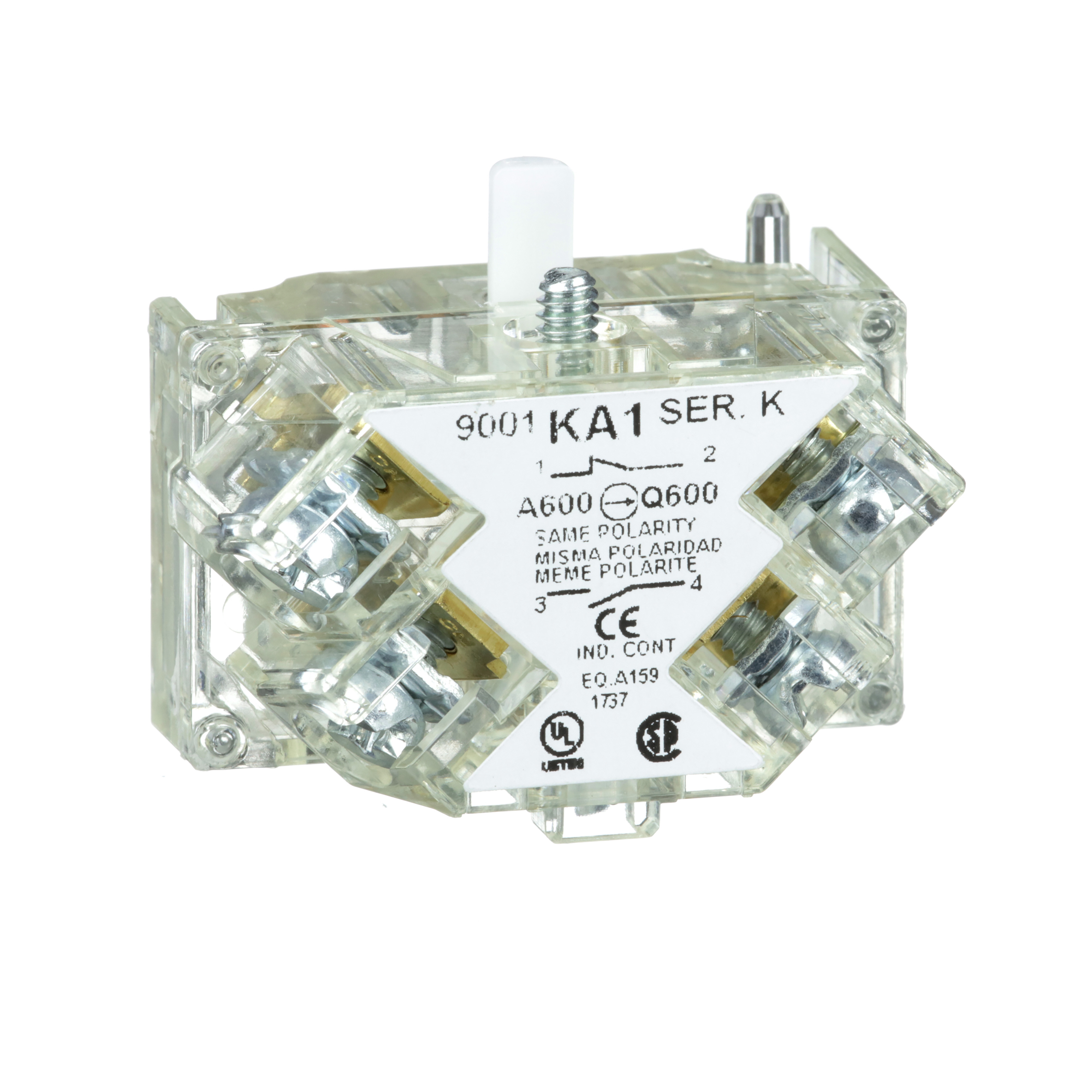 SQUARE D 30mm Push Button, Types K, SK or KX, contact block, 1 NO and 1 NC