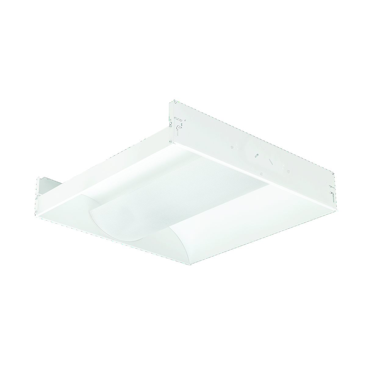 HUBBELL LIGHTING 2 FT x 4 FT, Number of Lamps: 3, 4 foot, T8: 32 watt fluorescent, Lamp Included: No, Metal perforated shield with overlay, 3-Lamp Electronic T8, Instant Start, 120-277 VAC.